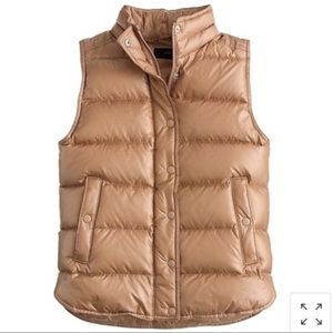 J. Crew Tan Shiny Down Puffer Vest Size Small